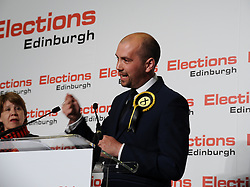 Victorious SNP candidate Ben McPherson after winning Edinburgh Northern & Leith from Labour.<br /> © Dave Johnston/ EEm