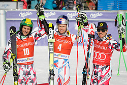 Second placed Philipp Schoerghofer (AUT), winner Alexis Pinturault (FRA) and third placed Marcel Hirscher (AUT) after the Men Giant Slalom race of FIS Alpine Ski World Cup 55th Vitranc Cup 2015, on March 4, 2016 in Kranjska Gora, Slovenia. Photo by Ziga Zupan / Sportida