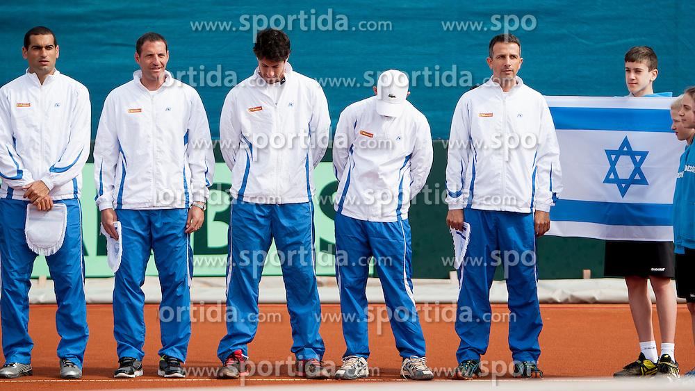 Team Israel before match of Davis cup Slovenia vs. Israel on April 4, 2014 in Portoroz, Slovenia. Photo by Urban Urbanc / Sportida