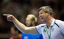 Berlin, Deutschland, 16.05.2015:<br /> Handball EHF Pokal Halbfinale Spiel 1 2014 / 2015 - Skjern Handbold - HSV Hamburg - EHF CUP Finals 2014/15.<br /> <br /> Trainer Jens Haeusler (HSV) *** Local Caption *** &copy; pixathlon