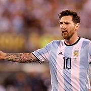EAST RUTHERFORD, NEW JERSEY - JUNE 26: Lionel Messi #10 of Argentina complains to Brazilian referee Heber Lopes after being shown the yellow card during the Argentina Vs Chile Final match of the Copa America Centenario USA 2016 Tournament at MetLife Stadium on June 26, 2016 in East Rutherford, New Jersey. (Photo by Tim Clayton/Corbis via Getty Images)