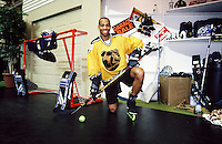 1999:  Chris Nelson poses inside a roller hockey booth at the NSGA trade show in Chicago, IL.