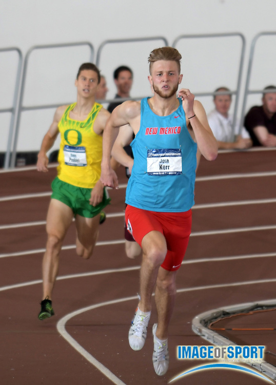 Mar 10, 2018; College Station, TX, USA; Josh Kerr of New Mexico wins the mile in 3:57.02 during the NCAA Indoor Track and Field Championships at the McFerrin Athletic Center.