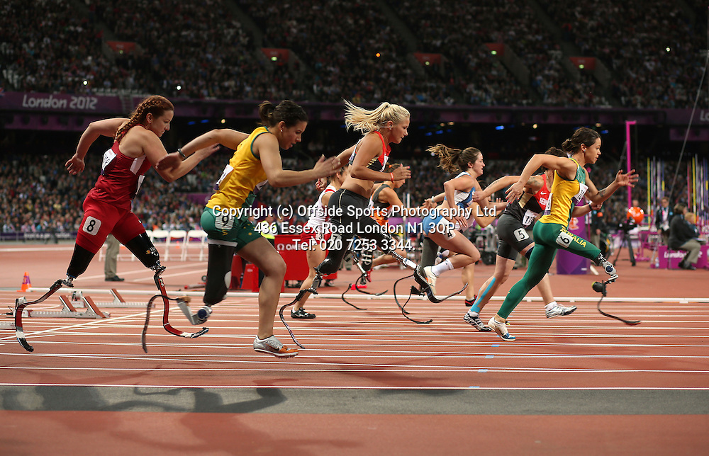 05 September 2012 Paralympic Games . Athletics.<br /> Start of the womens 100 metres T42 race.<br /> Photo: Mark Leech.