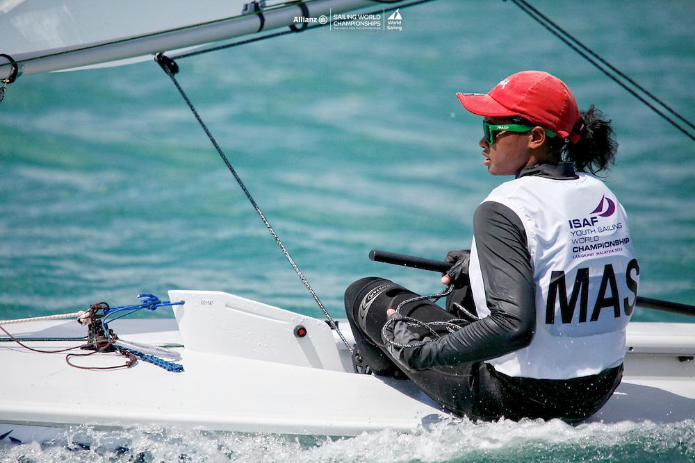 MalaysiaLaser RadialWomenHelmMASNM6Nur ShazrinMohamad Latif<br />Day3, 2015 Youth Sailing World Championships,<br />Langkawi, Malaysia
