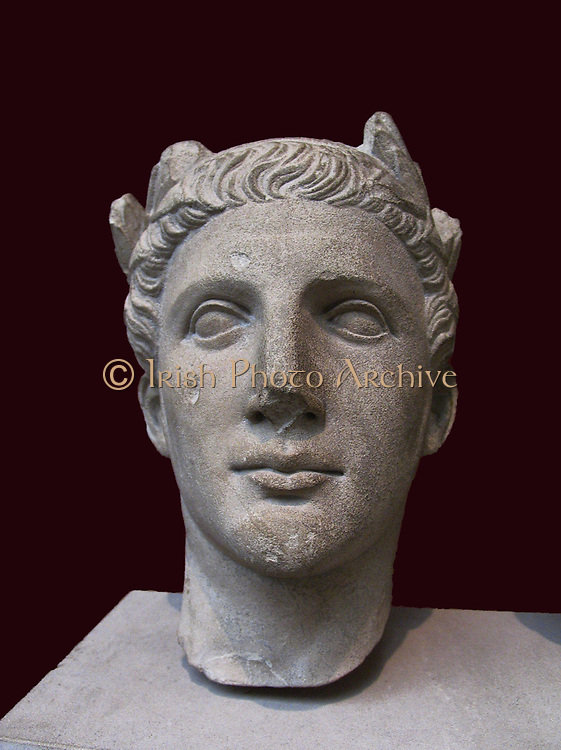 limestone portrait head from a statue of a worshipper wearing a wreath of laurel and ivy