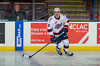 KELOWNA, CANADA - NOVEMBER 21: Austin Pratt #10 of the Regina Pats warms up against the Kelowna Rockets on November 21, 2018 at Prospera Place in Kelowna, British Columbia, Canada.  (Photo by Marissa Baecker/Shoot the Breeze)