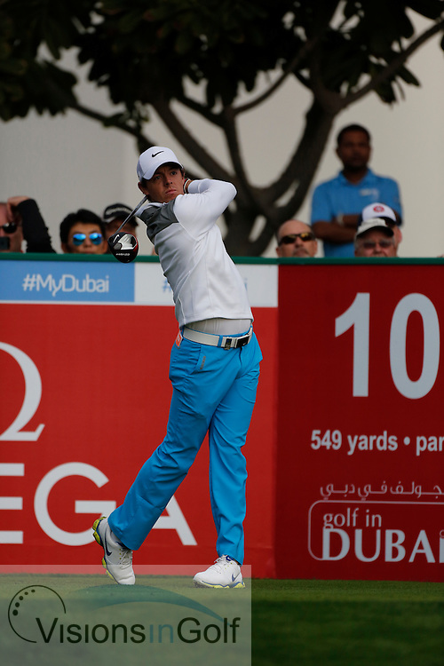 Rory McIlroy<br /> Omega Dubai Desert Classic, Emirates GC, UAE, January 2014<br /> Picture Credit:  Mark Newcombe / www.visionsingolf.com