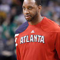 10 May 2012: Atlanta Hawks small forward Tracy McGrady (1) is seen during the Boston Celtics 83-80 victory over the Atlanta Hawks, in Game 6 of the Eastern Conference first-round playoff series, at the TD Banknorth Garden, Boston, Massachusetts, USA.