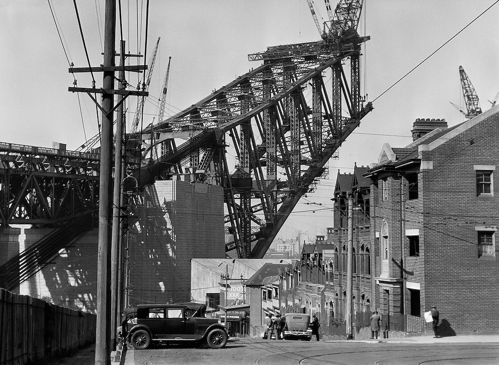 View of the Sydney Harbour Bridge from the South side, Australia,1930