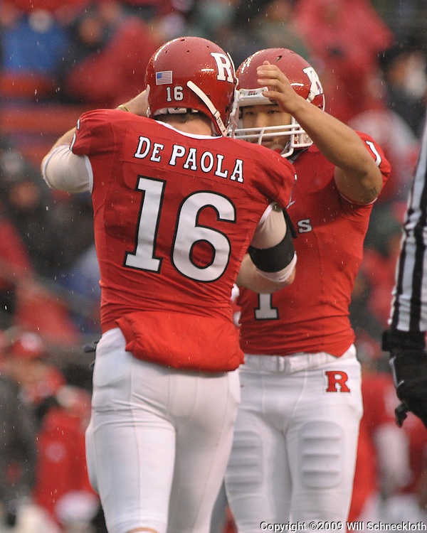 Dec 5, 2009; Piscataway, NJ, USA; Rutgers wide receiver Andrew Depaola (16) celebrates kicker San San Te's (1) field goal with him during second half NCAA Big East college football action in West Virginia's 24-21 victory over Rutgers at Rutgers Stadium.