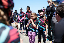 Young CANYON//SRAM Racing fans come to say hello to the team at Amgen Tour of California Women's Race empowered with SRAM 2019 - Stage 1, a 96.5 km road race in Ventura, United States on May 16, 2019. Photo by Sean Robinson/velofocus.com