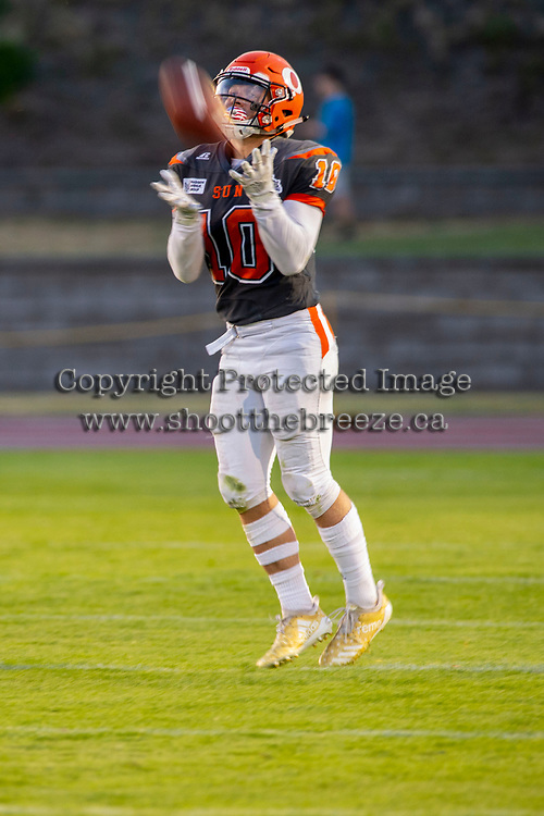 KELOWNA, BC - AUGUST 3:  Conor Richard #10 of Okanagan Sun catches the ball against the Kamloops Broncos  at the Apple Bowl on August 3, 2019 in Kelowna, Canada. (Photo by Marissa Baecker/Shoot the Breeze)