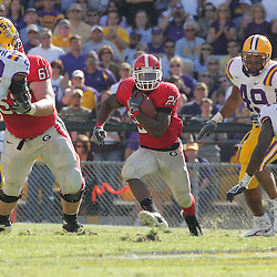 25 October 2008: Georgia running back Knowshon Moreno (24) run through a hole in the LSU defense during the Georgia Bulldogs 52-38 victory over the LSU Tigers at Tiger Stadium in Baton Rouge, LA.