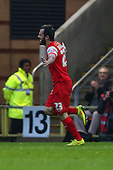 Chris Dagnall of Leyton Orient celebrates scoring his team's second goal against Crewe Alexandra to make it 2-0 after the Sky Bet League 1 match at the Matchroom Stadium, London<br /> Picture by David Horn/Focus Images Ltd +44 7545 970036<br /> 22/11/2014