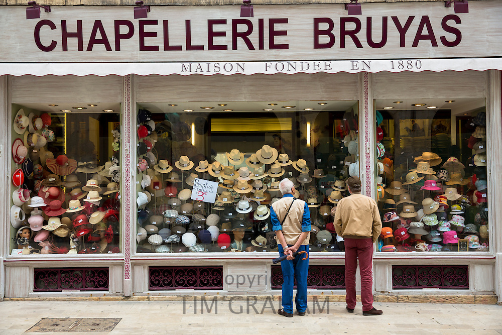 Hat shop, Chapellerie Bruyas, in Rue des Godrans in the old town in Dijon in the Burgundy region of France