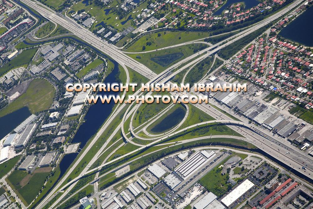 Highway interchange aerial, Miami, Florida, USA.