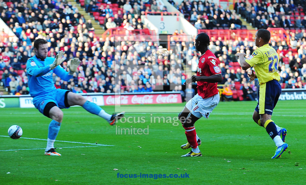 Picture by Alex Broadway/Focus Images Ltd.  07905 628187.22/10/11.Bradley Wright-Phillips of Charlton scores a goal during the Npower League One match at The Valley stadium, London.