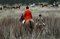 Fox Hunting.Matingley, Eangland, December 20th, 2004 - Vale of Aylesbury with Garth and south hunt pack. joint master, David Fleming and his daughter joining hunting field.