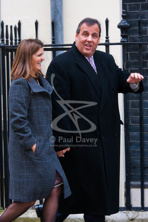 "Downing Street, London, February 3rd 2015. New Jersey Governor and Republican Presidential hopeful Chris Christie accompanied by his wife Mary visits British Chancellor George Osbourne at No. 11 Downing Street, declining to give a press statement but telling the gathered media  ""We had a lot of fun!""."
