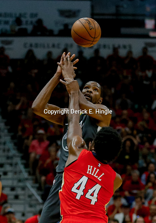 May 6, 2018; New Orleans, LA, USA; New Orleans Pelicans forward Solomon Hill (44) knocks the ball away from Golden State Warriors forward Kevin Durant (35) during the first quarter in game four of the second round of the 2018 NBA Playoffs at the Smoothie King Center. Mandatory Credit: Derick E. Hingle-USA TODAY Sports