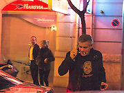 """VALENCIA, SPAIN, 25TH JANUARY 2014<br /> *****NO WEBSITES BEFORE 3RD FEBRUARY*****<br /> GEORGE CLOONEY NIGHT OUT IN VALENCIA.<br /> <br /> George Clooney is in Valencia filming Disney's new science fiction film 'Tomorrowland.' <br /> The actor was spotted when leaving the restaurant """"Baco del Turia"""" after dinner in Valencia, where tasted the famous paella from Valencia.<br /> ©Exclusivepix"""