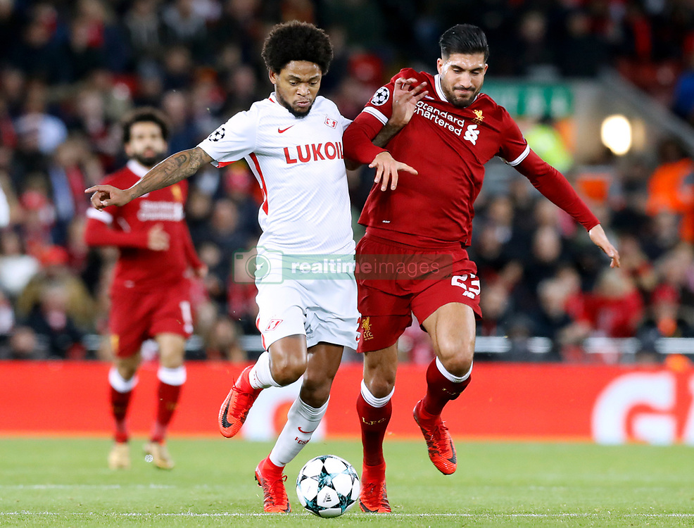Spartak Moscow's Luiz Adriano and Liverpool's Emre Can battle for the ball