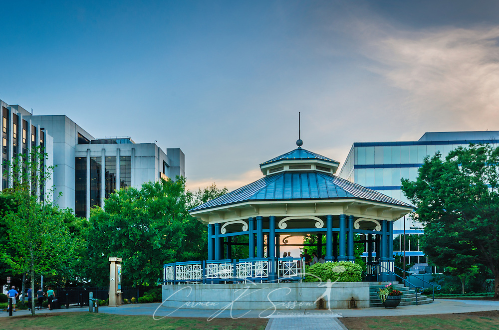 The sun sets behind the Decatur Square gazebo and bandstand, June 4, 2014, in Decatur, Georgia. (Photo by Carmen K. Sisson/Cloudybright)