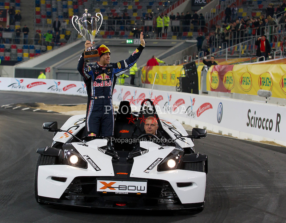 27.11.2010, Esprit Arena, Düsseldorf, GER, Race of Champions, im Bild Sebastian Vettel (GER, F1 Red Bull Racing)) auf der Ehrenrunde, EXPA Pictures © 2010, PhotoCredit: EXPA/ A. Neis