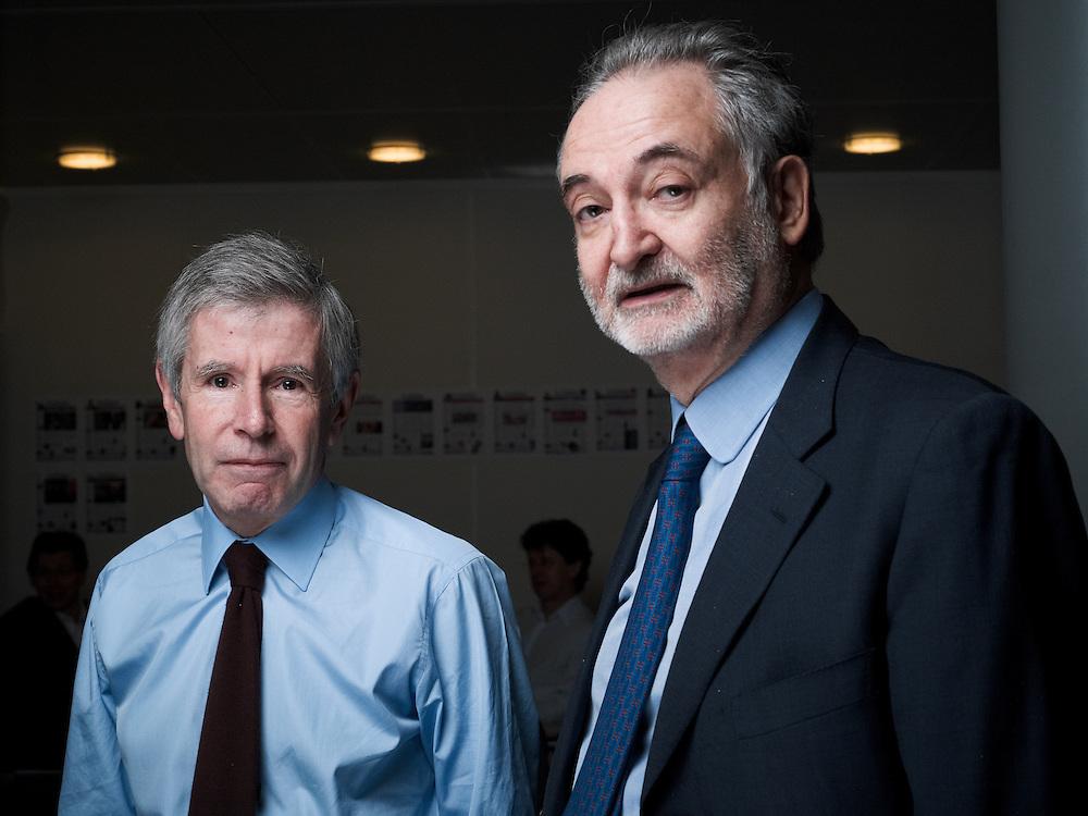 PARIS, FRANCE. DECEMBER 2, 2011. Jacques Attali with Alain Minc at Les Echos' newsroom. Photo: Antoine Doyen