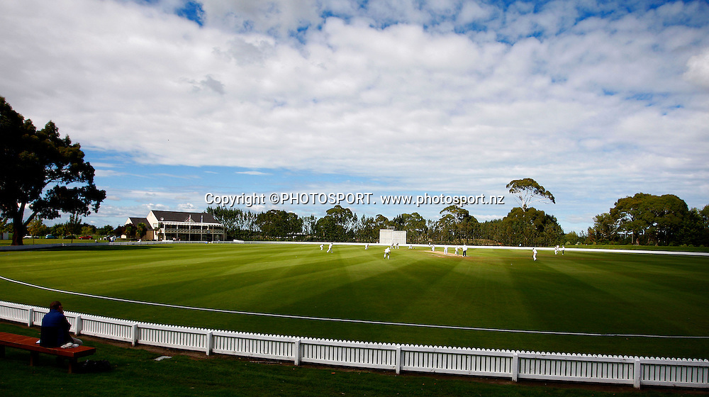 General view of the Bert Sutcliffe Oval during a cricket match between New Zealand A and England A, Bert Sutcliffe Oval, Lincoln, New Zealand. 9 March 2009. Photo:Simon Watts/PHOTOSPORT