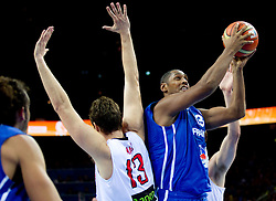 Boris Diaw of France vs Marc Gasol of Spain (L) during final basketball game between National basketball teams of Spain and France at FIBA Europe Eurobasket Lithuania 2011, on September 18, 2011, in Arena Zalgirio, Kaunas, Lithuania. (Photo by Vid Ponikvar / Sportida)