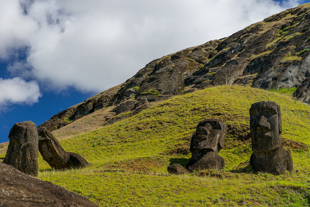 Moai which were carved by the Rapa Nui people. They have overly large heads about three-eights the size of the statues.