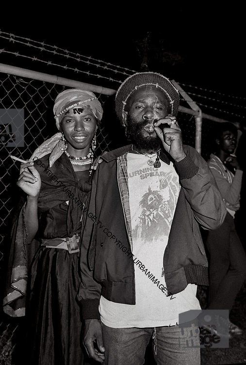 Backstage at Reggae Sunsplash Jamaica with Pam Nestor and Burning Spear - 1980
