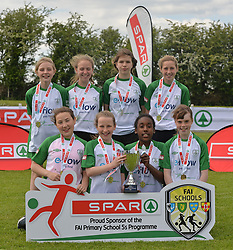 Scoil Roís Galway finalists at the SPAR FAI Primary Schools 5's Connacht finals, pictured at Solar Park Mayo with their C Cup and medals. As winners they will progress to the SPAR FAI Primary School 5's National Finals in the Aviva Stadium on May 31st.<br /> Pic Conor McKeown