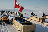 Canadian Rangers patrols assemble as they return to Resolute Bay after completing Operation Nunalivut 2012. Rangers are army units that mix local volunteers and professional military acting as eyes and ears in the most remote areas of northern Canada. 25 April 2012.