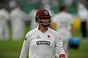 Marcus Trescothick of Somerset walks back to the pavilion after being dismissed by Chris Wright of Warwickshire during the Specsavers County Champ Div 1 match between Somerset County Cricket Club and Warwickshire County Cricket Club at the Cooper Associates County Ground, Taunton, United Kingdom on 6 September 2016. Photo by Graham Hunt.