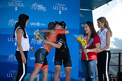Annette Edmondson (AUS) of Wiggle High5 Cycling Team celebrates finishing in third place in  Stage 1 of the Amgen Tour of California - a 124 km road race, starting and finishing in Elk Grove on May 17, 2018, in California, United States. (Photo by Balint Hamvas/Velofocus.com)