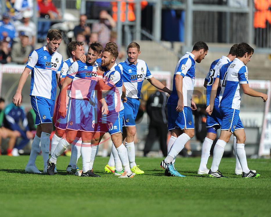 Bristol Rover's Oille Clarke celebrates his goal. - Photo mandatory by-line: Alex James/JMP - Mobile: 07966 386802 23/08/2014 - SPORT - FOOTBALL - Bristol - Memorial Stadium - Bristol Rovers v AFC Telford - Vanarama Football Conference