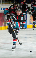 KELOWNA, CANADA - OCTOBER 18:  Riley Stadel #3 of the Kelowna Rockets takes a shot on the ice as the Prince George Cougars visit the Kelowna Rockets on October 18, 2012 at Prospera Place in Kelowna, British Columbia, Canada (Photo by Marissa Baecker/Shoot the Breeze) *** Local Caption ***