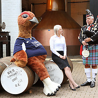 The Famous Grouse sponsor Perth Highland Games...pictured from left at The Famous Grouse Experience in Crieff are The Famous Grouse, Beth McMillan Marketing Manger for The Famous Grouse Experience and Pipe Major David Boyle who will be competing at the Perth Highland Games.<br /> Picture by Graeme Hart.<br /> Copyright Perthshire Picture Agency<br /> Tel: 01738 623350  Mobile: 07990 594431