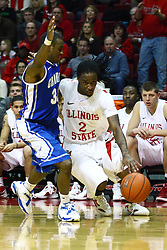 13 January 2012:  Bryant Allen works hard against defender Antoine Young during an NCAA Missouri Valley Conference mens basketball game where the Creighton Bluejays topped the Illinois State Redbirds 87-78 in Redbird Arena, Normal IL