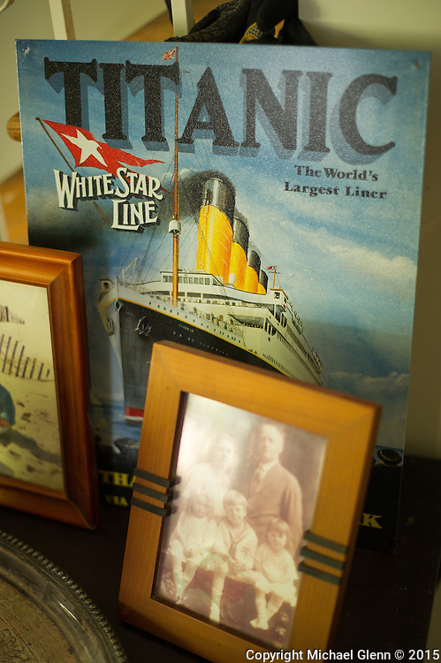 10 June 2015 Point Pleasant Beach USA / An advertorial plate sits on a table with family photos in the home of Joan Barry, Grand Niece of Father Thomas Byles, has spent a lifetime collecting titantic memorabilia, and replicas  /  Michael Glenn For the Monitor