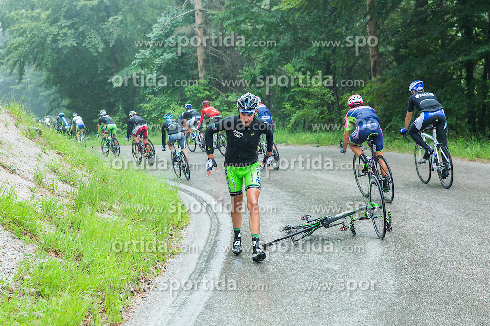 Rider fall during Stage 2 of 22nd Tour of Slovenia 2015 from Skofja Loka to Kocevje (183 km) cycling race on June 19, 2015 in Slovenia. Photo by Vid Ponikvar / Sportida