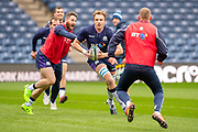 Tommy Seymour (#14) of Scotland looks to tackles Jonny Gray (#5) of Scotland during the Captain's training run for Scotland at BT Murrayfield, Edinburgh, Scotland on 8 March 2019 ahead of the Guinness 6 Nations match against Wales.