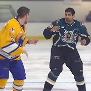Southern Stampede player Michael Sommer and Hassan Saeed fight before both being ejected from the game during the Southern Stampede V Dunedin Thunder National Ice Hockey League match at the Queenstown Ice Arena , South Island, New Zealand, 26th June 2011
