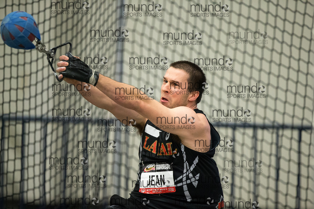 Windsor, Ontario ---2015-03-13--- Philippe Jean of Laval competes in the weight throw at the 2015 CIS Track and Field Championships in Windsor, Ontario, March 13, 2015.<br /> GEOFF ROBINS/ Mundo Sport Images