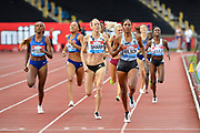 Ajee Wilson (USA) right, beats Lynsey Sharp (GBR) as she wins the women 800m in a time of 2.00.76 during the Birmingham Grand Prix, Sunday, Aug 18, 2019, in Birmingham, United Kingdom. (Steve Flynn/Image of Sport via AP)