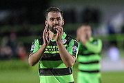 Man of the match Forest Green Rovers Aarran Racine(21) applauds the fans during the Vanarama National League match between Forest Green Rovers and Aldershot Town at the New Lawn, Forest Green, United Kingdom on 5 November 2016. Photo by Shane Healey.