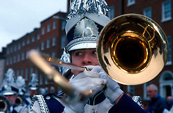 IRELAND DUBLIN 17MAR00 - A trombone player from a US American marching band rehearses on St. Stephen's Green prior to the St. Patrick's Day celebrations in Dublin...jre/Photo by Jiri Rezac..© Jiri Rezac 2000..Contact: +44 (0) 7050 110 417.Mobile:  +44 (0) 7801 337 683.Office:  +44 (0) 20 8968 9635..Email:   jiri@jirirezac.com.Web:     www.jirirezac.com..© All images Jiri Rezac 2000 - All rights reserved.